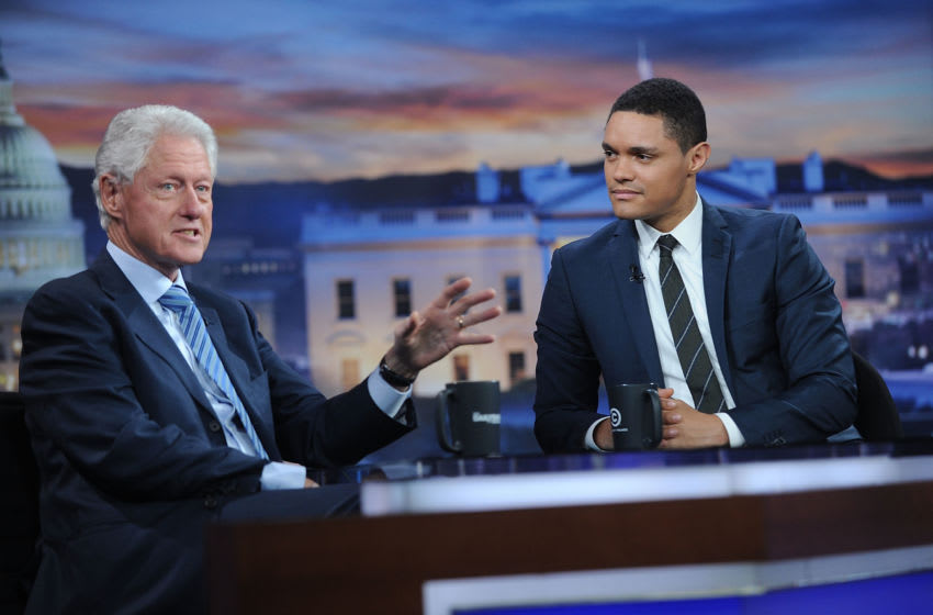 NEW YORK, NY - SEPTEMBER 15: 42nd President of the United States Bill Clinton(L) and Trevor Noah attend The Daily Show with Trevor Noah on September 15, 2016 in New York City. (Photo by Brad Barket/Getty Images for Comedy Central)