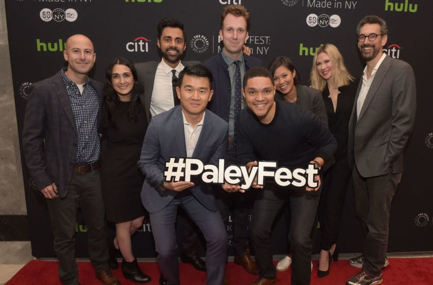NEW YORK, NY - OCTOBER 13: Adam Lowitt, Jen Flanz, Hasan Minhaj, Ronny Chieng, Jordan Klepper, Trevor Noah, Alex Wagner, Desi Lydic and Steve Bodow attend PaleyFest New York 2016 - 'The Daily Show With Trevor Noah' at The Paley Center for Media on October 13, 2016 in New York City. (Photo by J. Kempin/Getty Images)