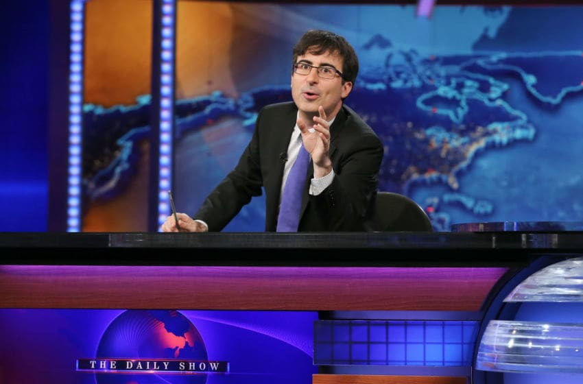 NEW YORK, NY - JUNE 10: John Oliver takes over as summer guest host of 'The Daily Show with Jon Stewart' on June 10, 2013 in New York City. (Photo by Neilson Barnard/Getty Images for Comedy Central)