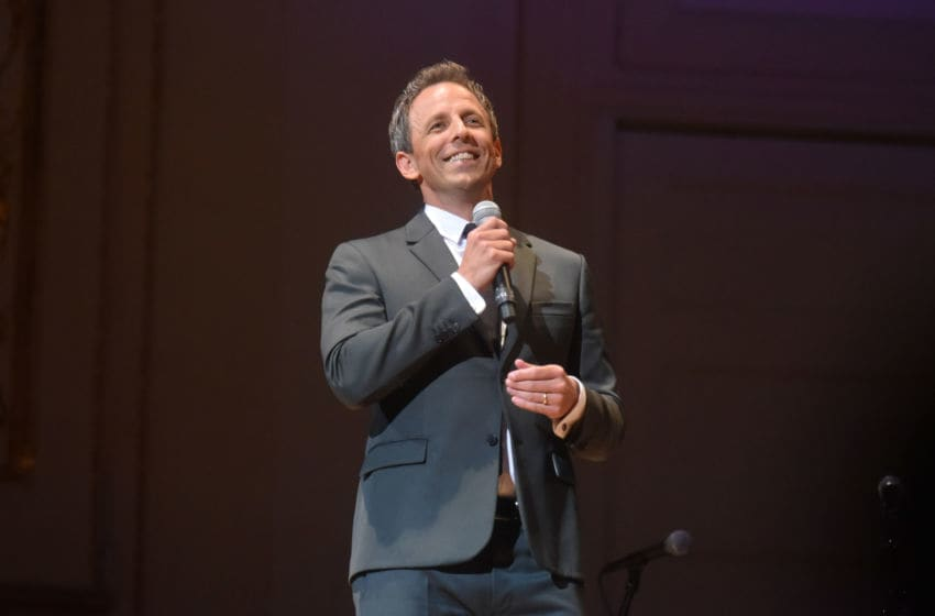 NEW YORK, NY - SEPTEMBER 12: Seth Meyers performs onstage during the 2018 GOOD+ Foundation?s Evening of Comedy + Music Benefit, presented by Samsung Electronics America at Carnegie Hall on September 12, 2018 in New York City. (Photo by Andrew Toth/Getty Images for GOOD+ Foundation)