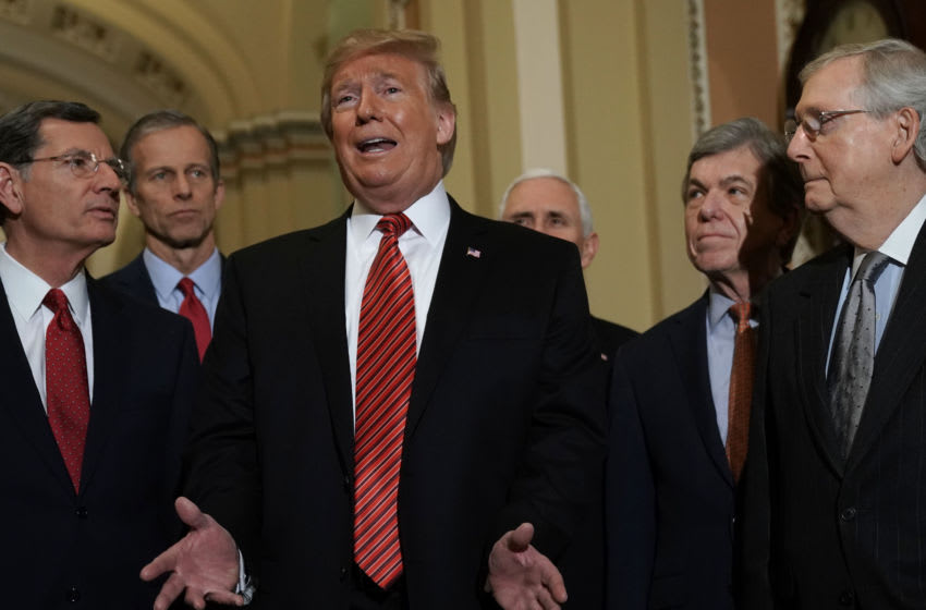 President Donald Trump, Sen. John Barrasso (R-WY), Sen. John Thune (R-SD), Vice President Mike Pence, Sen. Roy Blunt (R-MO), and Senate Majority Leader Sen. Mitch McConnell (R-KY) (Photo by Alex Wong/Getty Images)