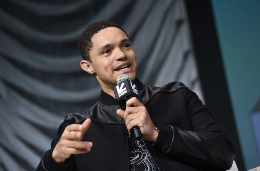 AUSTIN, TX - MARCH 09: Trevor Noah speaks at SXSW Featured Session: Trevor Noah And The Daily Show News Team Panel Hard With Jake Tapper at Austin Convention Center on March 9, 2019 in Austin, Texas. (Photo by Vivien Killilea/Getty Images for Comedy Central)