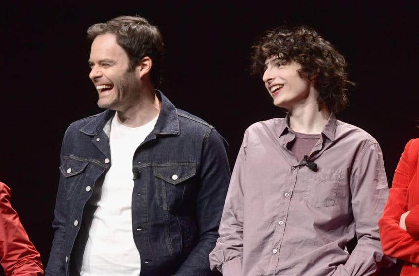 "LAS VEGAS, NV - APRIL 02: (L-R) Bill Hader and Finn Wolfhard speak onstage at CinemaCon 2019 Warner Bros. Pictures Invites You to ""The Big Picture"", an Exclusive Presentation of its Upcoming Slate at The Colosseum at Caesars Palace during CinemaCon, the official convention of the National Association of Theatre Owners, on April 2, 2019 in Las Vegas, Nevada. (Photo by Matt Winkelmeyer/Getty Images for CinemaCon)"