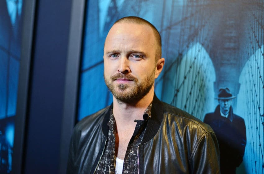LOS ANGELES, CALIFORNIA - OCTOBER 28: Aaron Paul arrives at Premiere Of Warner Bros Pictures' 'Motherless Brooklyn' on October 28, 2019 in Los Angeles, California. (Photo by Jerod Harris/Getty Images)
