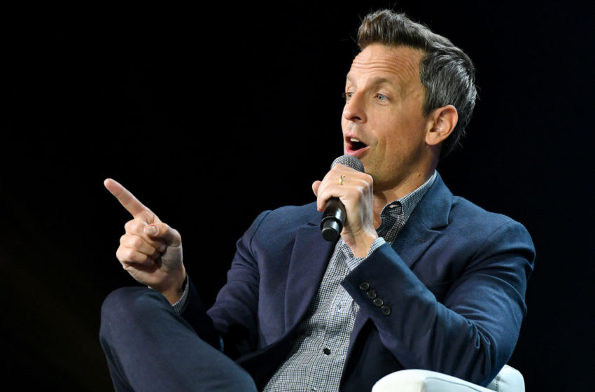 NEW YORK, NEW YORK - OCTOBER 30: Seth Meyers, Host Late Night with Seth Meyers speaks onstage during ONWARD19: The Future Of Search - Day 3 at Marriott Marquis Times Square on October 30, 2019 in New York City. (Photo by Craig Barritt/Getty Images for Yext)
