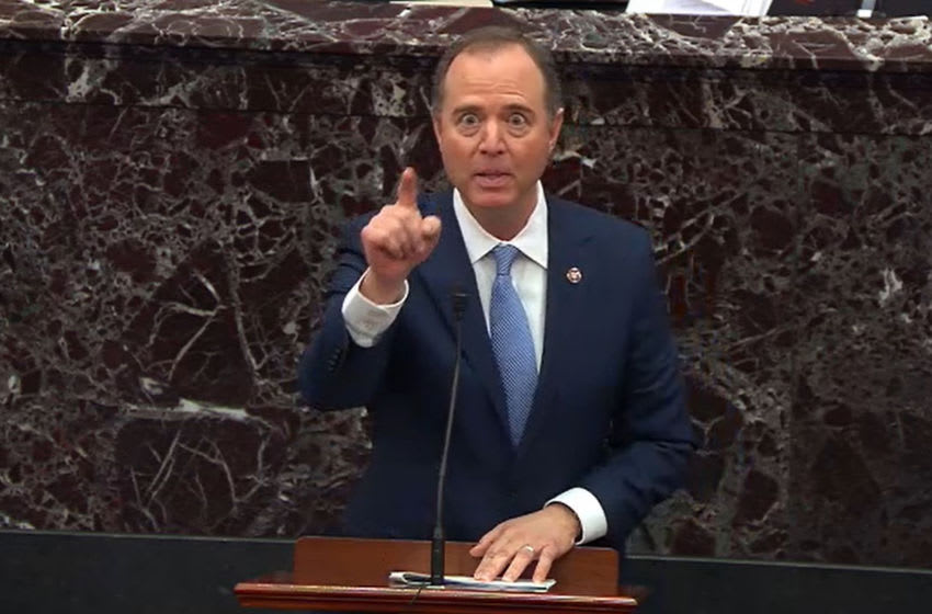WASHINGTON, DC - JANUARY 21: In this screengrab taken from a Senate Television webcast, House impeachment manager Rep. Adam Schiff (D-CA) speaks during impeachment proceedings against U.S. President Donald Trump in the Senate at the U.S. Capitol on January 21, 2020 in Washington, DC. (Photo by Senate Television via Getty Images)