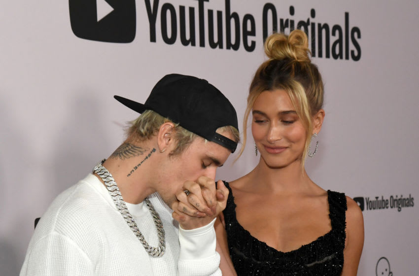 WESTWOOD, CALIFORNIA - JANUARY 27: (L-R) Justin Bieber and Hailey Rhode Bieber attend YouTube Originals