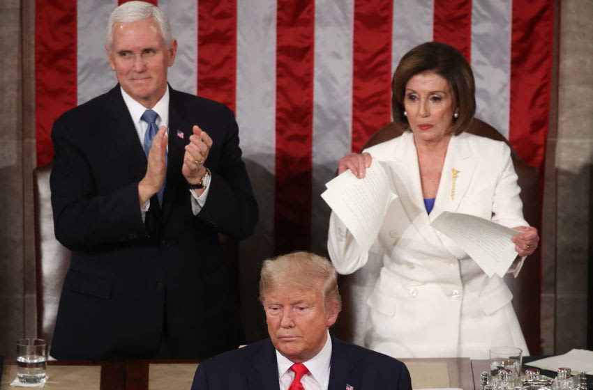 WASHINGTON, DC - FEBRUARY 04: House Speaker Rep. Nancy Pelosi (D-CA) rips up pages of the State of the Union speech after U.S. President Donald Trump finishes his State of the Union speech in the chamber of the U.S. House of Representatives on February 04, 2020 in Washington, DC. President Trump delivers his third State of the Union to the nation the night before the U.S. Senate is set to vote in his impeachment trial. (Photo by Mark Wilson/Getty Images)