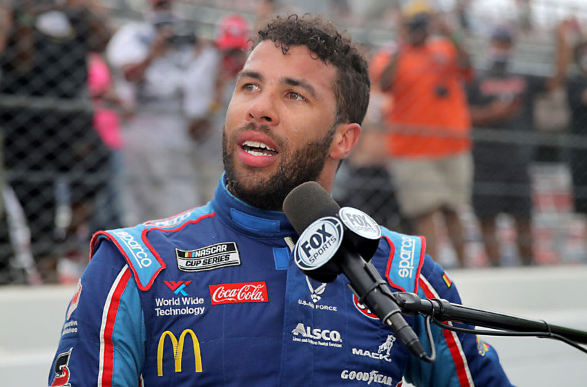 Bubba Wallace, (Photo by Chris Graythen/Getty Images)