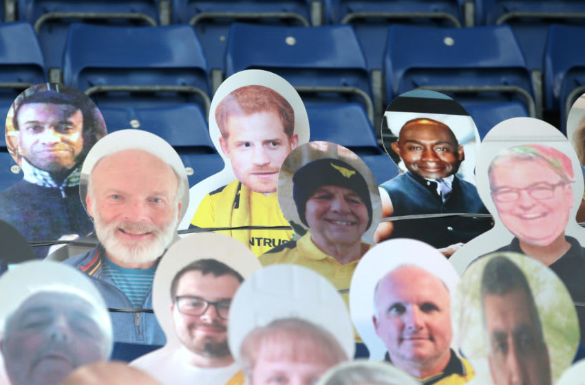 Cardboard cut-out fans (Photo by Robin Jones/Getty Images)