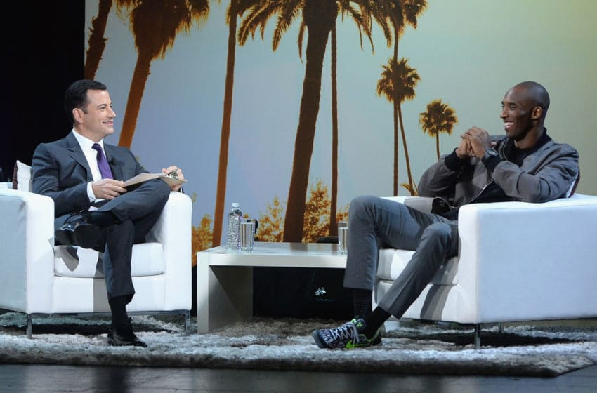 LOS ANGELES, CA - AUGUST 15: Host Jimmy Kimmel and NBA player Kobe Bryant speak on stage at SPORTS SPECTACULAR & KVBFF PRESENT: KOBE UP CLOSE Hosted By Jimmy Kimmel at Club Nokia on August 15, 2013 in Los Angeles, California. (Photo by Jason Kempin/Getty Images for SPORTS SPECTACULAR)