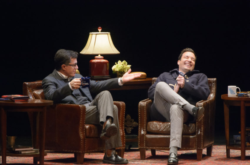 NEWARK, NJ - NOVEMBER 24: Stephen Colbert(L) and Jimmy Fallon(R) speak on stage at the Montclair Film Festival Presents: Jimmy Fallon and Stephn Colbert in converstation at New Jersey Performing Arts Center on November 24, 2013 in Newark, New Jersey. (Photo by Dave Kotinsky/Getty Images)