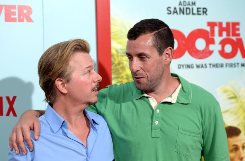 LOS ANGELES, CA - MAY 16: Comedians David Spade and Adam Sandler attend the premiere of Netflix's 'The Do Over' at Regal LA Live Stadium 14 on May 16, 2016 in Los Angeles, California. (Photo by Jason Kempin/Getty Images)