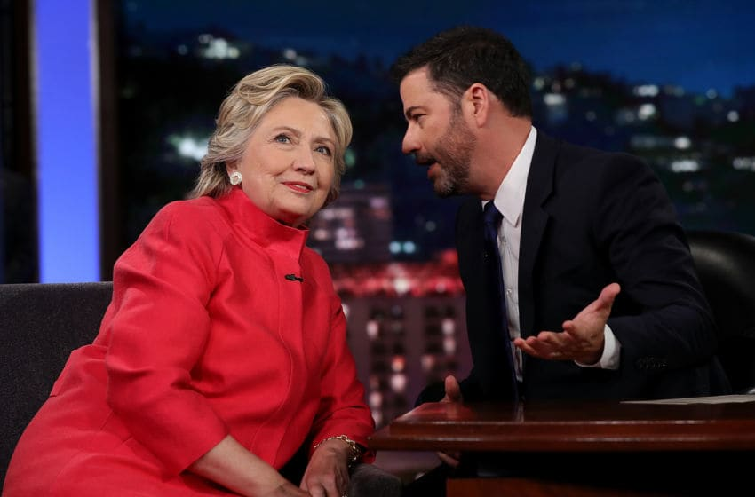 Hillary Clinton talks with Jimmy Kimmel (Photo by Justin Sullivan/Getty Images)