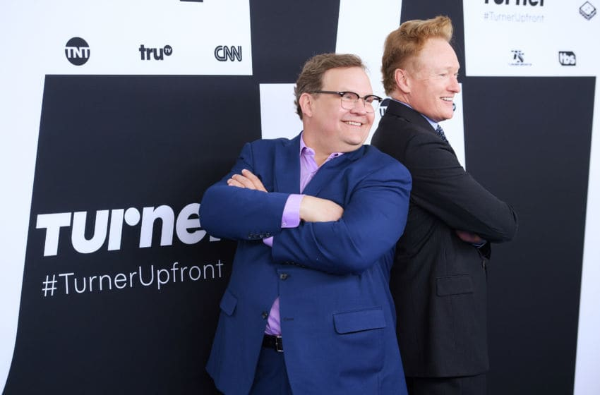 NEW YORK, NY - MAY 17: Andy Richter (L) and Conan O'Brien attend the Turner Upfront 2017 arrivals on the red carpet at The Theater at Madison Square Garden on May 17, 2017 in New York City. 26617_003 (Photo by Dimitrios Kambouris/Getty Images)