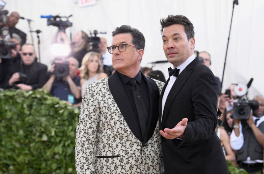NEW YORK, NY - MAY 07: Comedians Stephen Colbert and Jimmy Fallon attend the Heavenly Bodies: Fashion & The Catholic Imagination Costume Institute Gala at The Metropolitan Museum of Art on May 7, 2018 in New York City. (Photo by Noam Galai/Getty Images for New York Magazine)