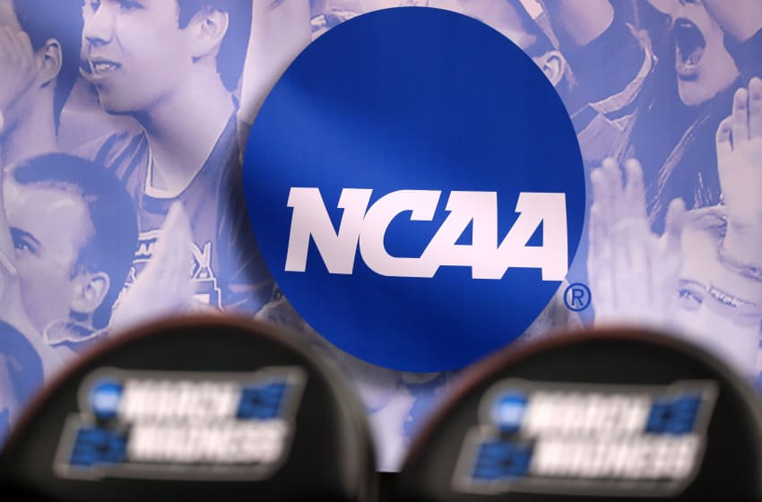 SALT LAKE CITY, UT - MARCH 16: The NCAA logo is seen in the second half of the game between the Northwestern Wildcats and the Vanderbilt Commodores during the first round of the 2017 NCAA Men's Basketball Tournament at Vivint Smart Home Arena on March 16, 2017 in Salt Lake City, Utah. (Photo by Christian Petersen/Getty Images)