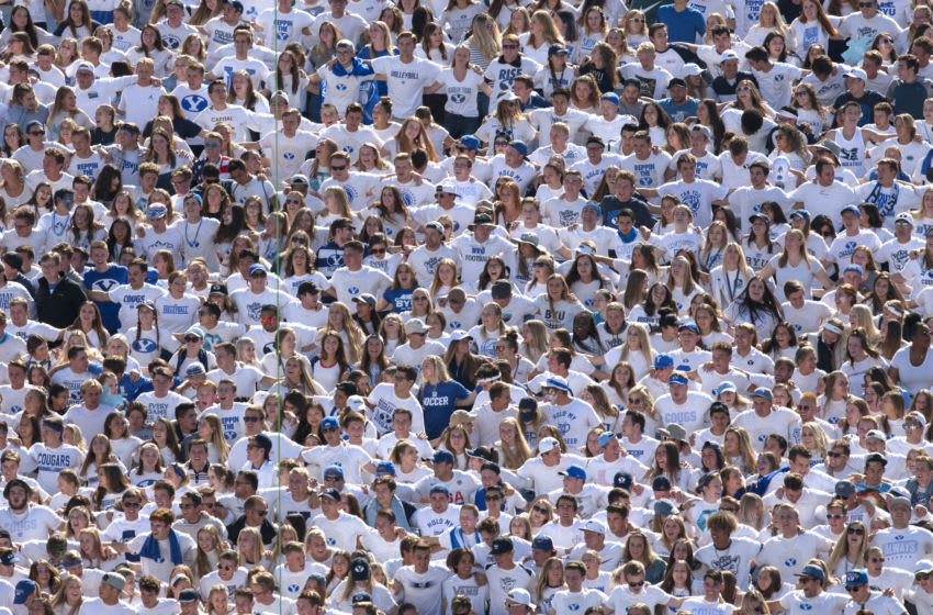 PROVO, UT - SEPTEMBER 21 : The student section cheers during the game between their BYU Cougars and the Washington Huskies at LaVell Edwards Stadium on September 21, 2019 in Provo, Utah. (Photo by Chris Gardner/Getty Images)