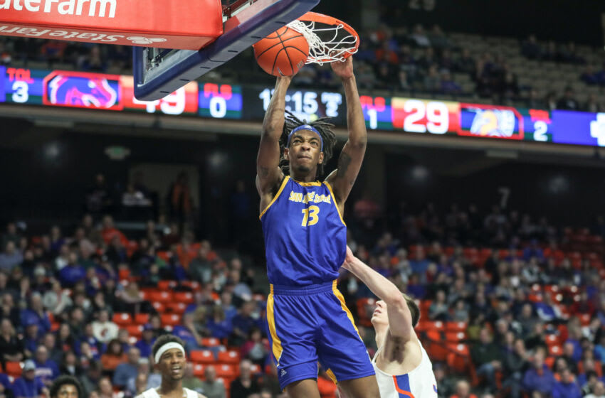 BOISE, ID - JANUARY 29: Guard Seneca Knight #13 of the San Jose State Spartans gets a slam dunk during second half action against the Boise State Broncos at ExtraMile Arena on January 29, 2020 in Boise, Idaho. Boise State won the game 99-71. (Photo by Loren Orr/Getty Images)