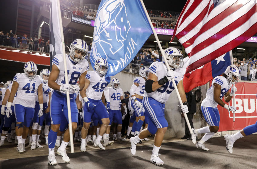 HOUSTON, TEXAS - OCTOBER 16: The BYU Cougars take the field before the game against the Houston Cougars at TDECU Stadium on October 16, 2020 in Houston, Texas. (Photo by Tim Warner/Getty Images)