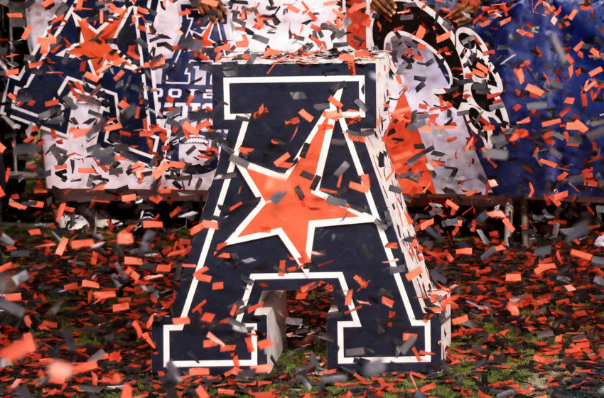 CINCINNATI, OHIO - DECEMBER 19: The American Athletic Conference logo on the field after the game between the Cincinnati Bearcats and the Tulsa Golden Hurricane at Nippert Stadium on December 19, 2020 in Cincinnati, Ohio. (Photo by Justin Casterline/Getty Images)