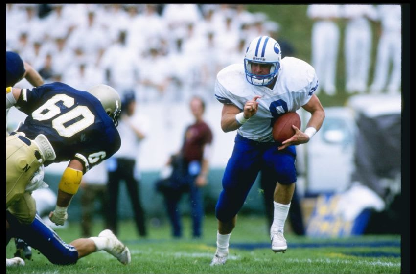16 Sep 1989: Matt Bellini of the Brigham Young Cougars runs down the field during a game against the Navy Midshipman at Navy-Marine Corps Memorial Stadium in Annapolis, Maryland. Brigham Young won the game 31-10. Mandatory Credit: Doug Pensinger /Allsp