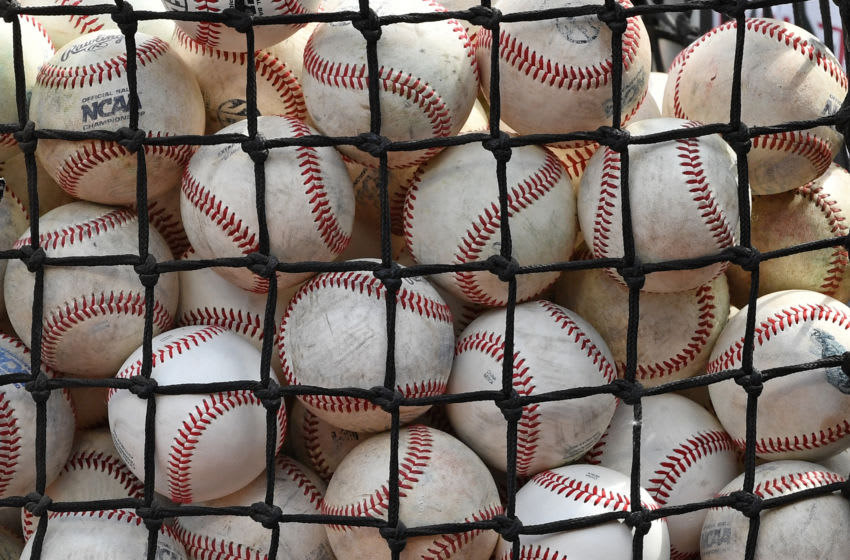 OMAHA, NE - JUNE 26: A general view of a basket of batting practice balls, during batting practice before game one of the College World Series Championship Series between the Arkansas Razorbacks and the Oregon State Beavers on June 26, 2018 at TD Ameritrade Park in Omaha, Nebraska. (Photo by Peter Aiken/Getty Images)