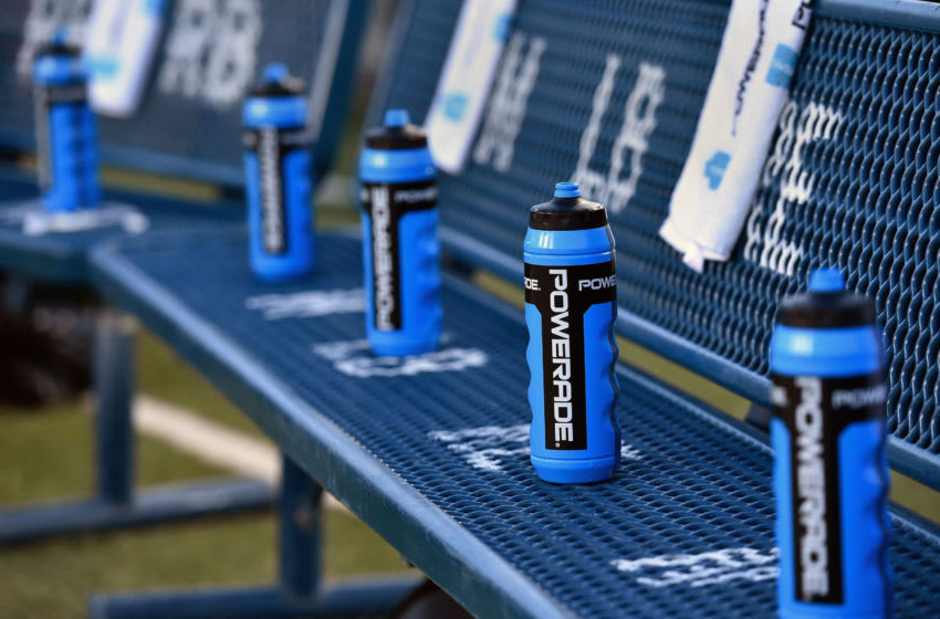 PROVO, UT - OCTOBER 6: General view of Powerade drink bottles on the benches prior to the game between the Boise State Broncos and the Brigham Young Cougars at LaVell Edwards Stadium on October 6, 2017 in Provo, Utah. (Photo by Gene Sweeney Jr./Getty Images) *** Local Caption ***