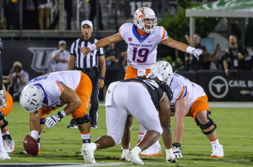 Sep 2, 2021; Orlando, Florida, USA; Boise State Broncos quarterback Hank Bachmeier (19) during the first quarter at Bounce House. Mandatory Credit: Mike Watters-USA TODAY Sports