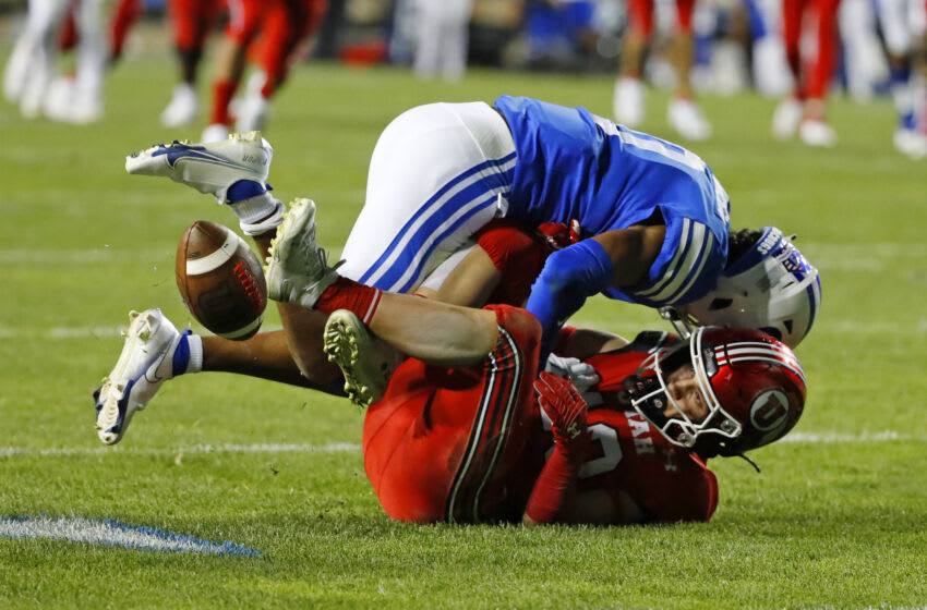 Sep 11, 2021; Provo, Utah, USA; Brigham Young Cougars defensive back Jakob Robinson (0) forces an incomplete pass on Utah Utes wide receiver Britain Covey (18) in the third quarter at LaVell Edwards Stadium. Mandatory Credit: Jeffrey Swinger-USA TODAY Sports