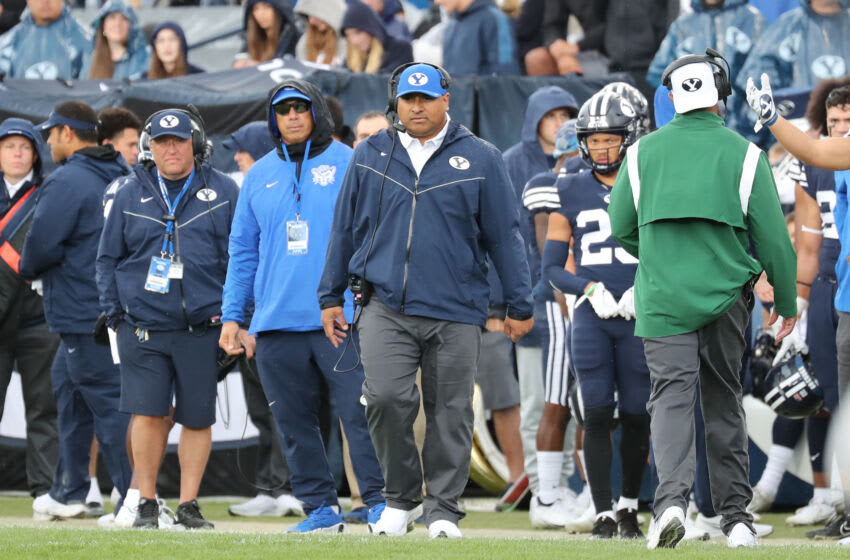 Oct 9, 2021; Provo, Utah, USA; Brigham Young Cougars head coach Kalani Sitake watches his team from the sideline during the second quarter against the Boise State Broncos at LaVell Edwards Stadium. Mandatory Credit: Rob Gray-USA TODAY Sports