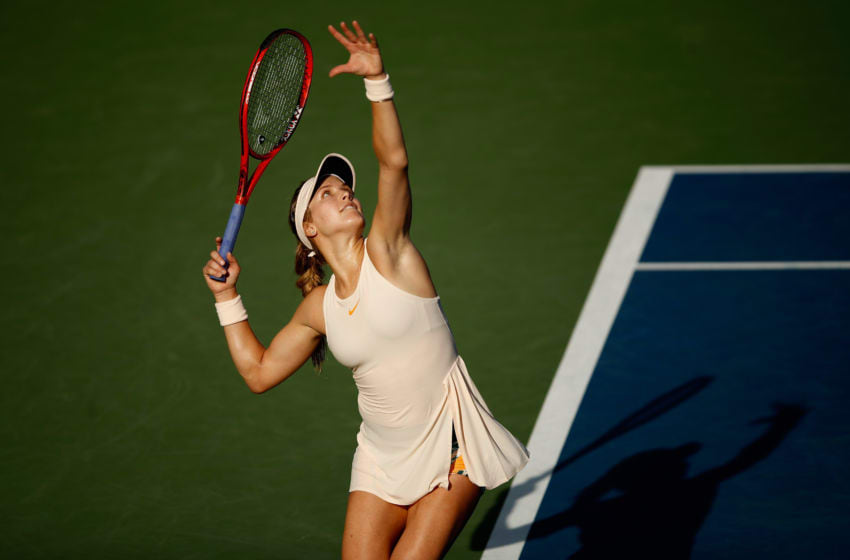 NEW YORK, NY - AUGUST 30: Eugenie Bouchard of Canada serves during her women's singles second round match against Marketa Vondrousova of Czech Republic on Day Four of the 2018 US Open at the USTA Billie Jean King National Tennis Center on August 30, 2018 in the Flushing neighborhood of the Queens borough of New York City. (Photo by Julian Finney/Getty Images)
