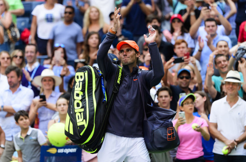 NEW YORK, NY - SEPTEMBER 02: Rafael Nadal of Spain waves to the crowd as he leaves the court after beating Nikoloz Basilashvili of Georgia in the third round of the US Open at the USTA Billie Jean King National Tennis Centre on September 02, 2018 in New York City, United States. (Photo by TPN/Getty Images)