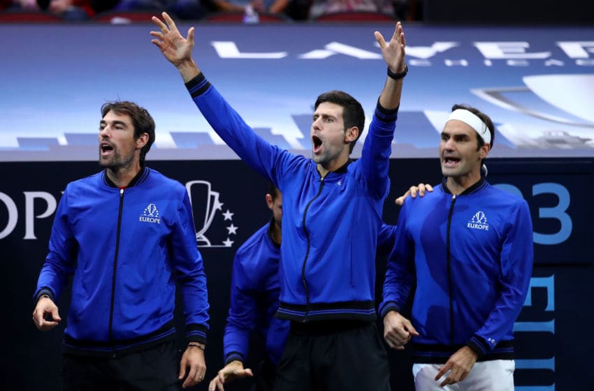 CHICAGO, IL - SEPTEMBER 22: Team Europe Jeremy Chardy of France, Team Europe Novak Djokovic of Serbia and Team Europe Roger Federer of Switzerland react during the Men's Singles match between Team Europe Alexander Zverev of Germany and Team World John Isner of the United States on day two of the 2018 Laver Cup at the United Center on September 22, 2018 in Chicago, Illinois. (Photo by Clive Brunskill/Getty Images for The Laver Cup)