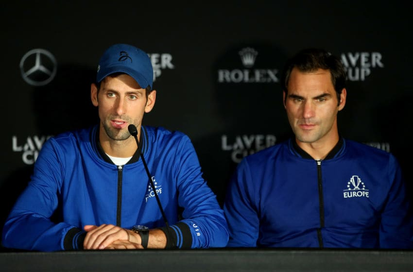CHICAGO, IL - SEPTEMBER 23: Team Europe Novak Djokovic of Serbia speaks to the media after winning the Laver Cup on day three of the 2018 Laver Cup at the United Center on September 23, 2018 in Chicago, Illinois. (Photo by Clive Brunskill/Getty Images for The Laver Cup)