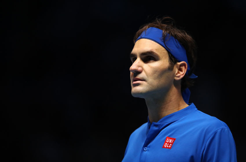 LONDON, ENGLAND - NOVEMBER 17: Roger Federer of Switzerland looks on in his semi finals singles match against Alexander Zverev of Germany during Day Seven of the Nitto ATP Finals at The O2 Arena on November 17, 2018 in London, England. (Photo by Clive Brunskill/Getty Images)