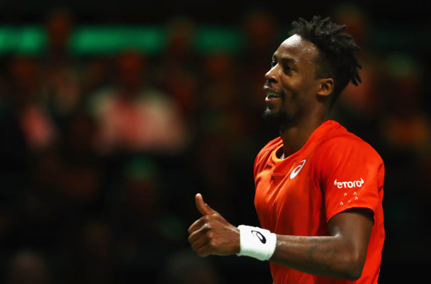 ROTTERDAM, NETHERLANDS - FEBRUARY 17: Gael Monfils of France celebrates a point against Stan Wawrinka of Switzerland in their Mens Final during Day 7 of the ABN AMRO World Tennis Tournament at Rotterdam Ahoy on February 17, 2019 in Rotterdam, Netherlands. (Photo by Dean Mouhtaropoulos/Getty Images)