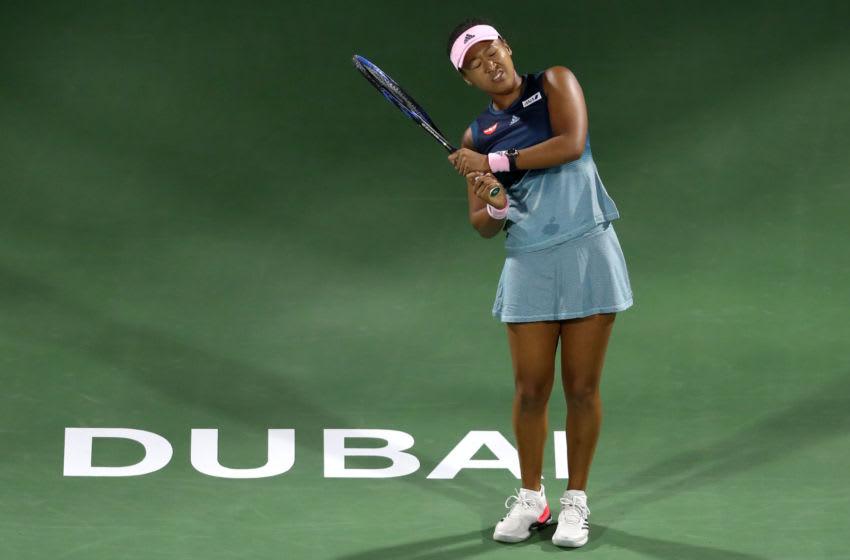 DUBAI, UNITED ARAB EMIRATES - FEBRUARY 19: Naomi Osaka of Japan reacts during day three of the WTA Dubai Duty Free Tennis Championships at Dubai Tennis Stadium on February 19, 2019 in Dubai, United Arab Emirates. (Photo by Francois Nel/Getty Images)