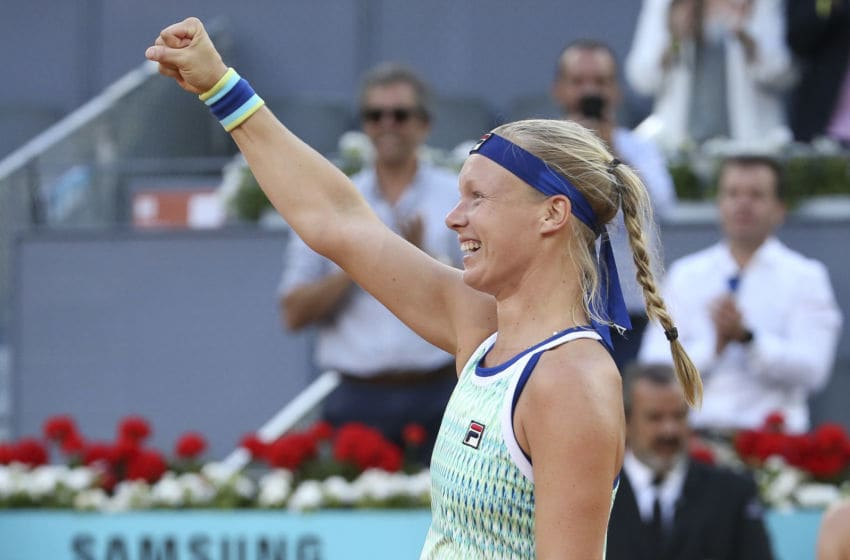 MADRID, SPAIN - MAY 11: Kiki Bertens of the Netherlands celebrates her victory in the final against Simona Halep of Romania during day 8 of the Mutua Madrid Open at La Caja Magica on May 11, 2019 in Madrid, Spain. (Photo by Jean Catuffe/Getty Images)