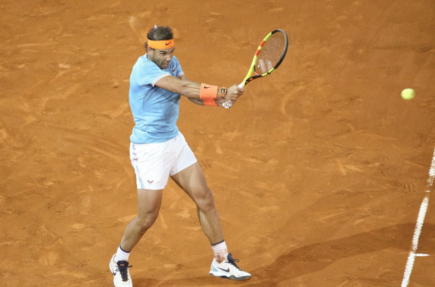 MADRID, SPAIN - MAY 11: Rafael Nadal of Spain in action during day 8 of the Mutua Madrid Open at La Caja Magica on May 11, 2019 in Madrid, Spain. (Photo by Jean Catuffe/Getty Images)