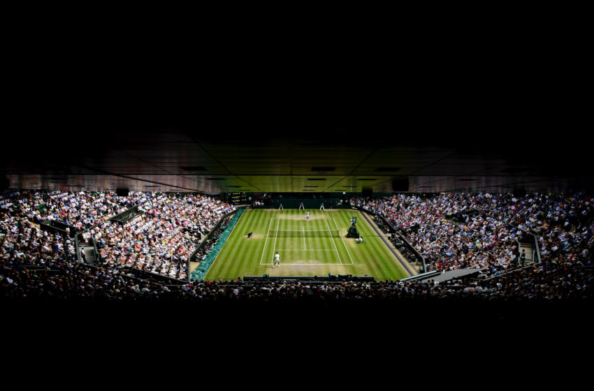 LONDON, ENGLAND - JULY 14: General view of Centre Court in the Men's Singles final between Roger Federer of Switzerland and Novak Djokovic of Serbia during Day thirteen of The Championships - Wimbledon 2019 at All England Lawn Tennis and Croquet Club on July 14, 2019 in London, England. (Photo by Shaun Botterill/Getty Images)