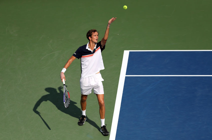 MASON, OHIO - AUGUST 18: Daniil Medvedev of Russia serves to David Goffin of Belgium during the Men's Final of the Western and Southern Open at Lindner Family Tennis Center on August 18, 2019 in Mason, Ohio. (Photo by Rob Carr/Getty Images)