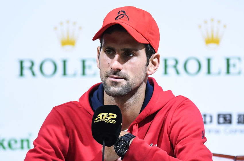 SHANGHAI, CHINA - OCTOBER 10: Novak Djokovic of Serbia holds a press conference at the Rolex Shanghai Masters at the Qi Zhong Tennis Centre on October 10, 2019 in Shanghai, China. (Photo by Zhe Ji/Getty Images)