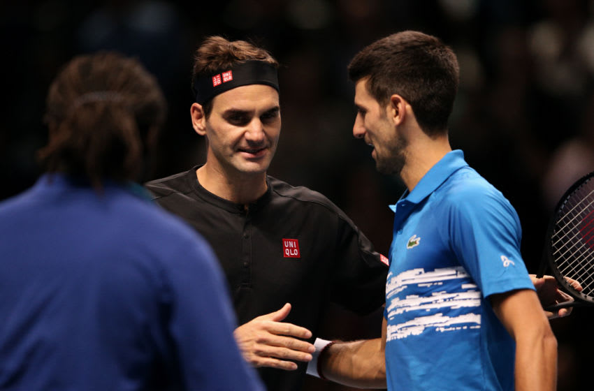 Roger Federer and Novak Djokovic (Photo by James Chance/Getty Images)