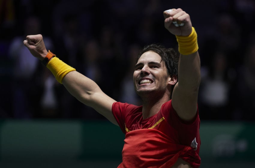 MADRID, SPAIN - NOVEMBER 24: Rafael Nadal of Spain celebrates after defeating in his singles final match against Denis Shapovalov of Canada which leads Spain to victory during Day Seven of the 2019 David Cup at La Caja Magica on November 24, 2019 in Madrid, Spain (Photo by fotopress/Getty Images)