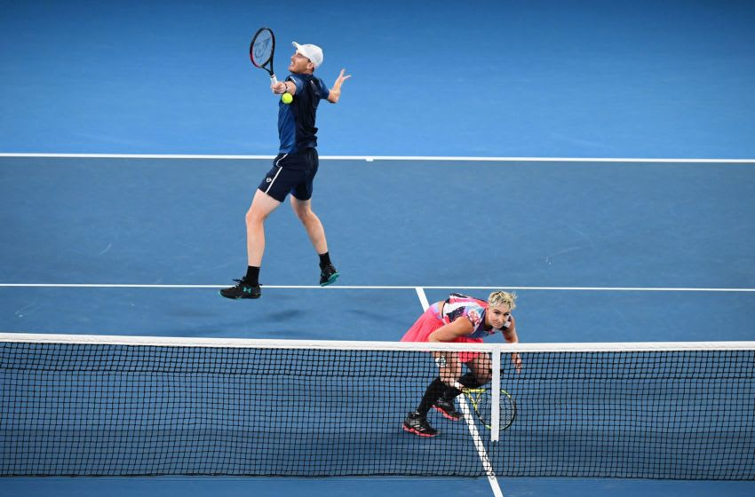Britain's Jamie Murray (L) and Bethanie Mattek-Sands of the US play against Croatia's Nikola Mektic and Czech Republic's Barbora Krejcikova during their mixed doubles final match on day thirteen of the Australian Open tennis tournament in Melbourne on February 1, 2020. (Photo by William WEST / AFP) / IMAGE RESTRICTED TO EDITORIAL USE - STRICTLY NO COMMERCIAL USE (Photo by WILLIAM WEST/AFP via Getty Images)