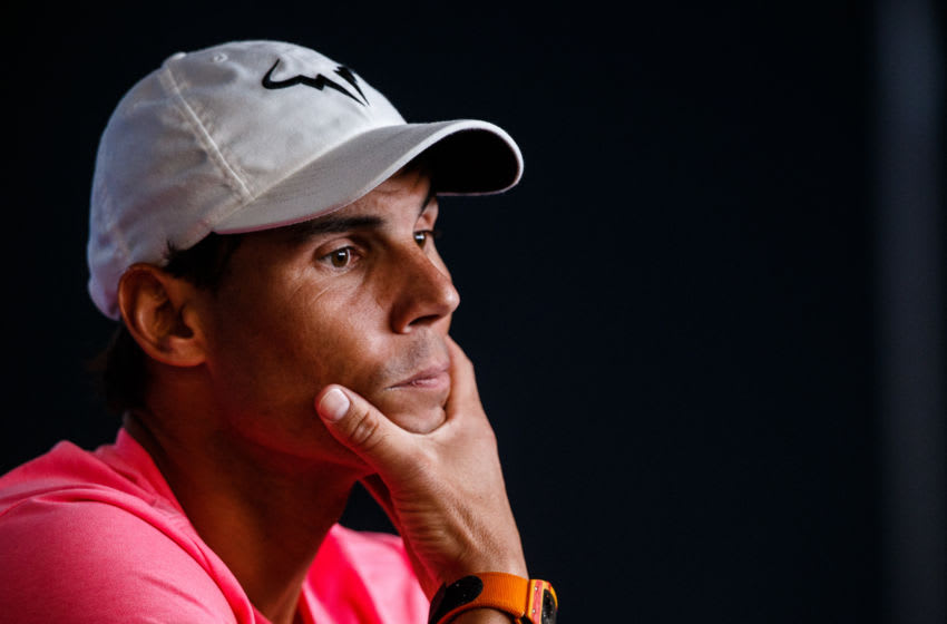 MELBOURNE, AUSTRALIA - JANUARY 18: Rafael Nadal of Spain during pre-tournament player media conference ahead of the 2020 Australian Open at Melbourne Park on January 18, 2020 in Melbourne, Australia. (Photo by Chaz Niell/Getty Images)