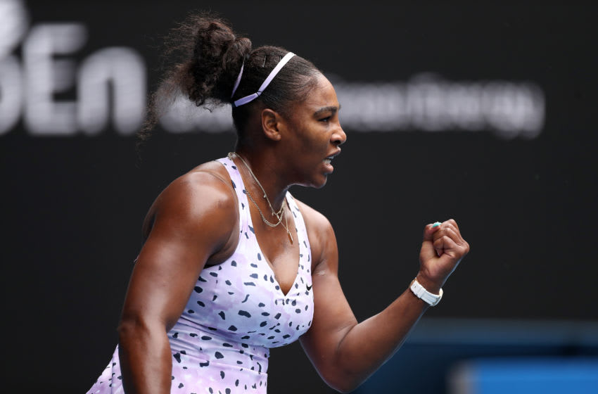 Serena Williams in the first round of the Australian Open (Photo by Mark Kolbe/Getty Images)