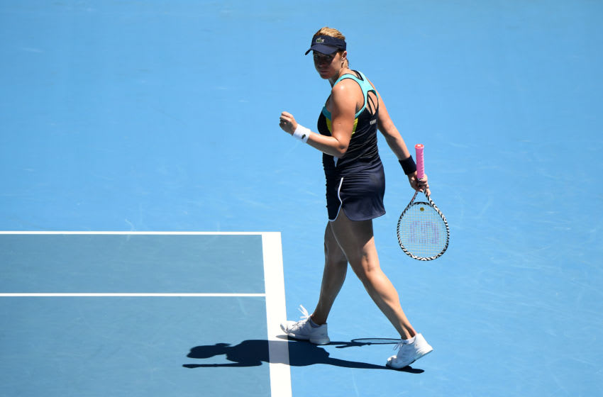 MELBOURNE, AUSTRALIA - JANUARY 29: Anastasia Pavlyuchenkova of Russia celebrates after winning a point during her Women's Singles Quarterfinal match against Garbine Muguruza of Spain on day ten of the 2020 Australian Open at Melbourne Park on January 29, 2020 in Melbourne, Australia. (Photo by Quinn Rooney/Getty Images)