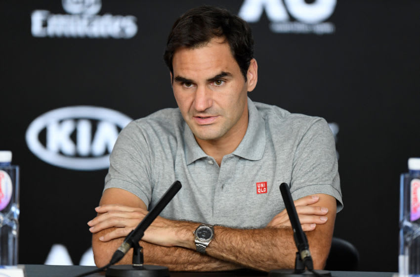 MELBOURNE, AUSTRALIA - JANUARY 30: Roger Federer of Switzerland speaks during his post match press conference on day eleven of the 2020 Australian Open at Melbourne Park on January 30, 2020 in Melbourne, Australia. (Photo by Morgan Hancock/Getty Images)